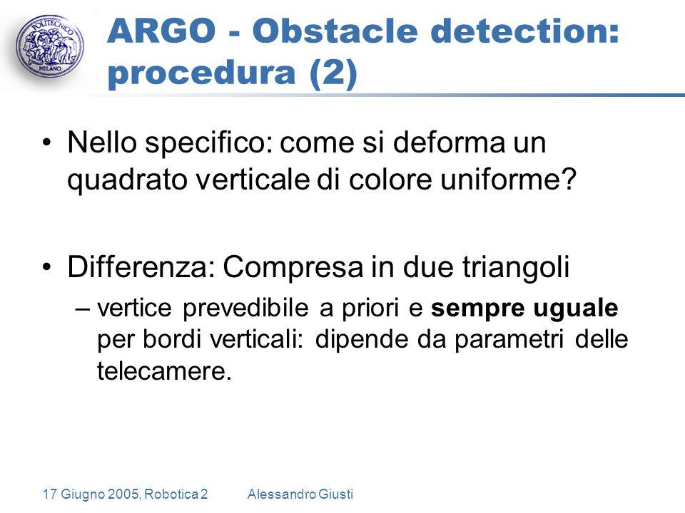 17 Giugno 2005, Robotica 2Alessandro Giusti ARGO - Obstacle detection: procedura (2) Nello specifico: come si deforma un quadrato verticale di colore uniforme.
