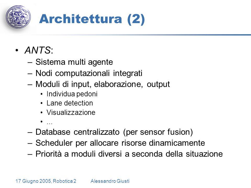 17 Giugno 2005, Robotica 2Alessandro Giusti Architettura (2) ANTS: –Sistema multi agente –Nodi computazionali integrati –Moduli di input, elaborazione, output Individua pedoni Lane detection Visualizzazione...