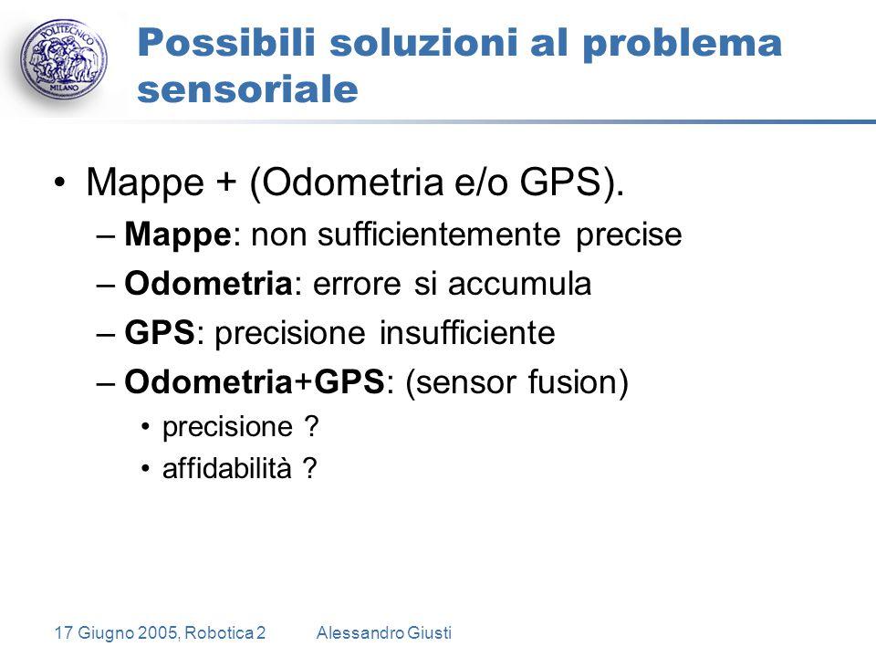 17 Giugno 2005, Robotica 2Alessandro Giusti Possibili soluzioni al problema sensoriale Mappe + (Odometria e/o GPS).