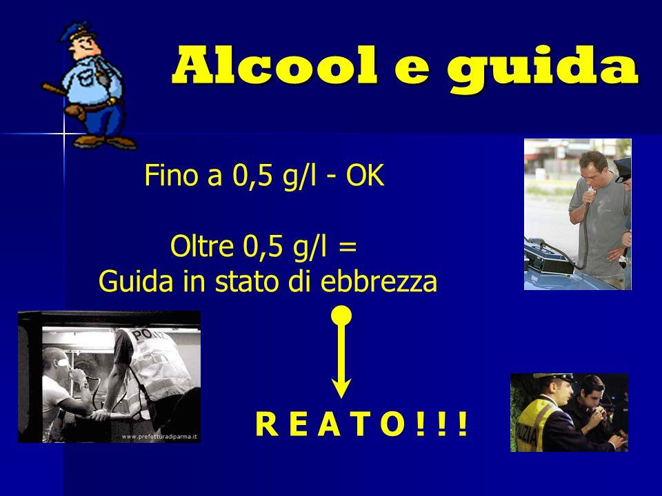 Alcool e guida R E A T O ! ! ! Fino a 0,5 g/l - OK Oltre 0,5 g/l = Guida in stato di ebbrezza