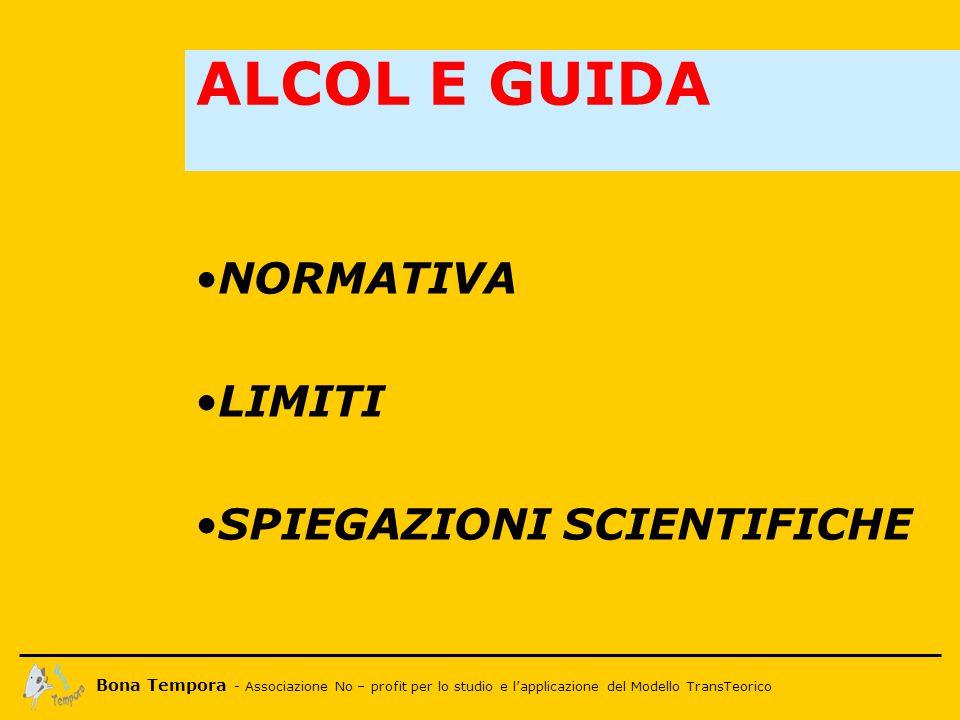 Bona Tempora - Associazione No – profit per lo studio e l'applicazione del Modello TransTeorico 1.Articolo 186: guida in stato di ebbrezza alcolica 2.E' vietato guidare in stato di ebbrezza: - Abbassamento del tasso massimo di alcol nel sangue (da 0.8 g/l a 0.5 g/l) - Obbligo di sottoporsi ai test - Rischio di arresti domiciliari in caso di positività ALCOL E GUIDA IL CODICE DELLA STRADA