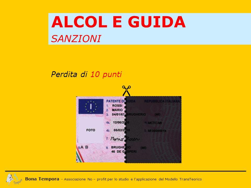 Bona Tempora - Associazione No – profit per lo studio e l'applicazione del Modello TransTeorico SANZIONI ALCOL E GUIDA  Perdita di 10 punti