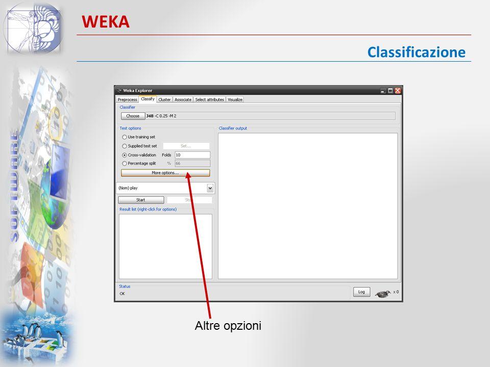 Classificazione WEKA Altre opzioni