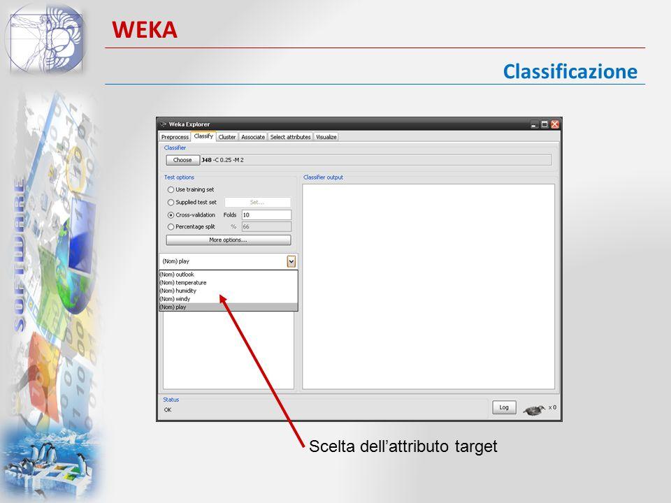 Classificazione WEKA Scelta dell'attributo target