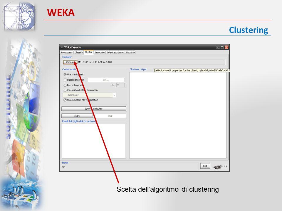 WEKA Clustering Scelta dell'algoritmo di clustering