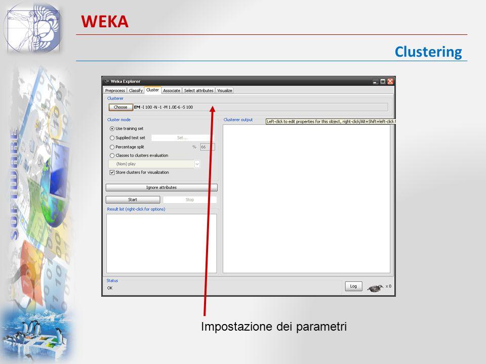 WEKA Clustering Impostazione dei parametri