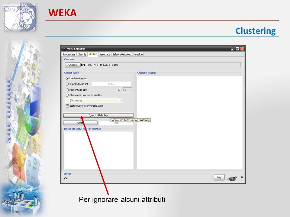 WEKA Clustering Per ignorare alcuni attributi