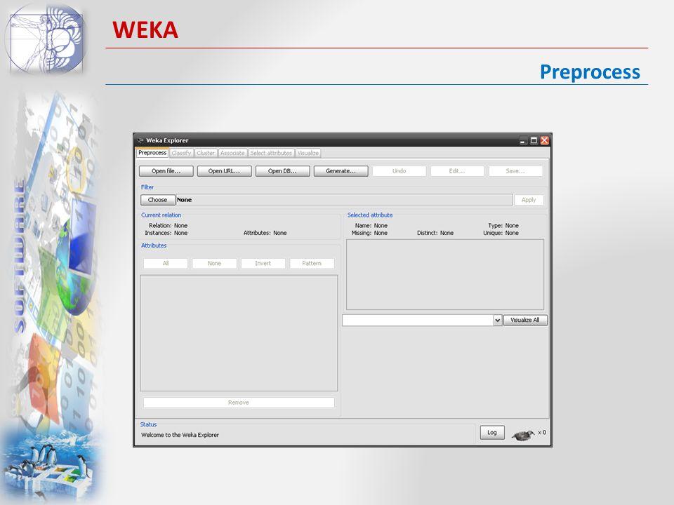 Preprocess WEKA I formati ammessi sono.arff e.csv