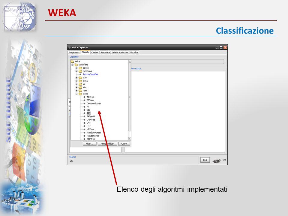 Classificazione WEKA Vengono impostati i parametri