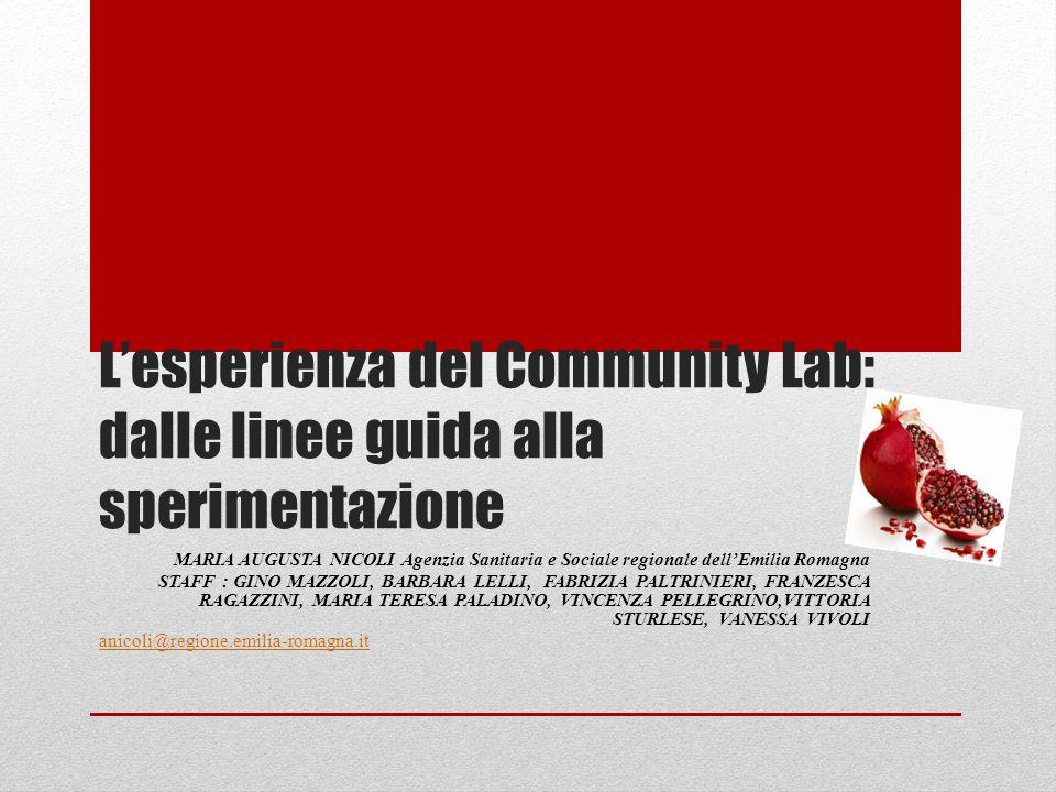 L'esperienza del Community Lab: dalle linee guida alla sperimentazione MARIA AUGUSTA NICOLI Agenzia Sanitaria e Sociale regionale dell'Emilia Romagna STAFF : GINO MAZZOLI, BARBARA LELLI, FABRIZIA PALTRINIERI, FRANZESCA RAGAZZINI, MARIA TERESA PALADINO, VINCENZA PELLEGRINO,VITTORIA STURLESE, VANESSA VIVOLI anicoli@regione.emilia-romagna.it