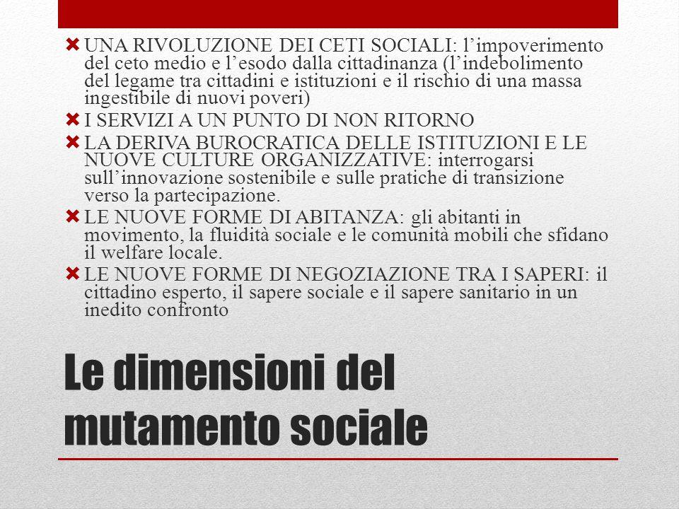 Le dimensioni del mutamento sociale  UNA RIVOLUZIONE DEI CETI SOCIALI: l'impoverimento del ceto medio e l'esodo dalla cittadinanza (l'indebolimento del legame tra cittadini e istituzioni e il rischio di una massa ingestibile di nuovi poveri)  I SERVIZI A UN PUNTO DI NON RITORNO  LA DERIVA BUROCRATICA DELLE ISTITUZIONI E LE NUOVE CULTURE ORGANIZZATIVE: interrogarsi sull'innovazione sostenibile e sulle pratiche di transizione verso la partecipazione.