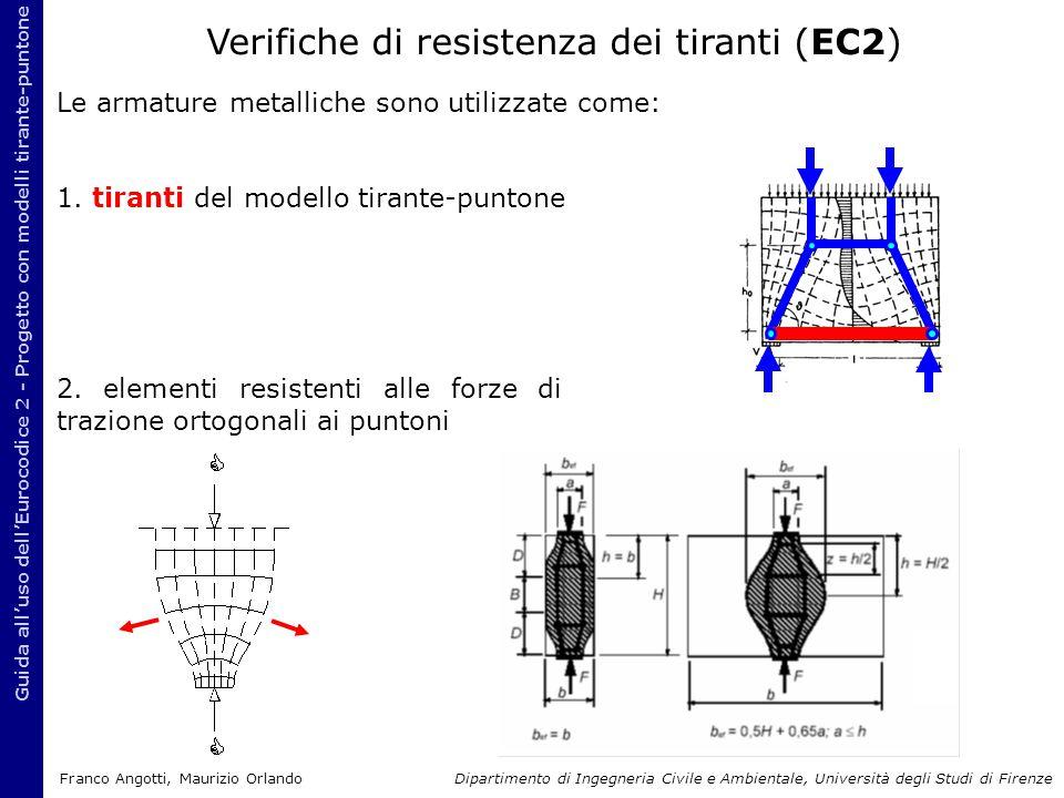Le armature metalliche sono utilizzate come: 1. tiranti del modello tirante-puntone Guida all'uso dell'Eurocodice 2 - Progetto con modelli tirante-pun