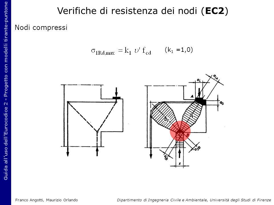 Nodi compressi Guida all'uso dell'Eurocodice 2 - Progetto con modelli tirante-puntone (k 1 =1,0) Verifiche di resistenza dei nodi (EC2) Franco Angotti