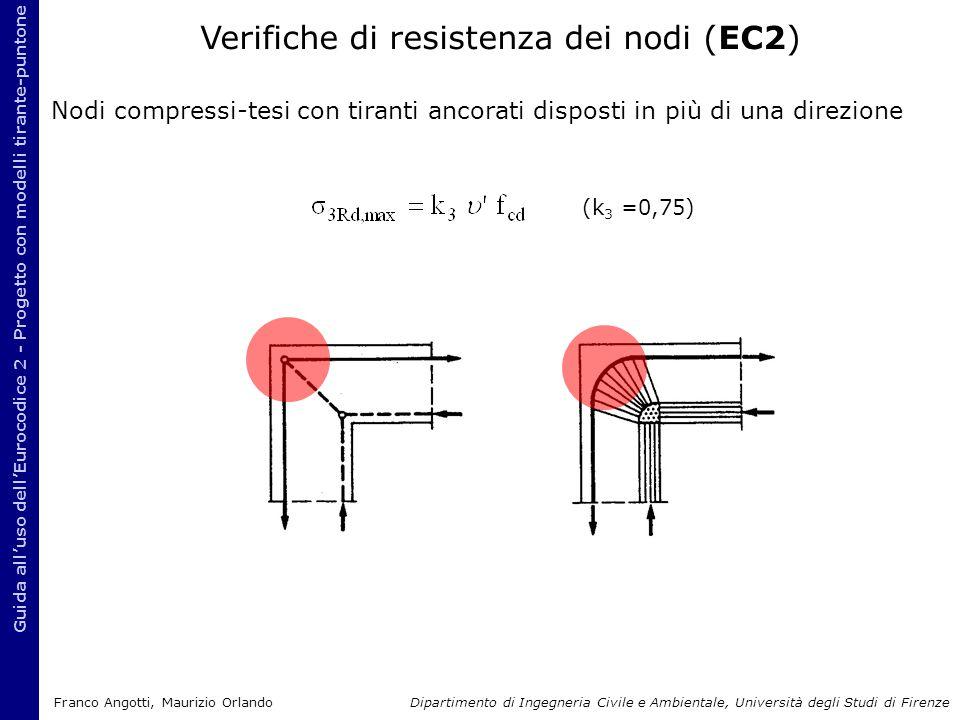 Guida all'uso dell'Eurocodice 2 - Progetto con modelli tirante-puntone Nodi compressi-tesi con tiranti ancorati disposti in più di una direzione (k 3