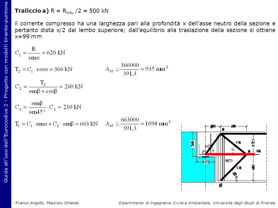 Traliccio a) R = R Sdu /2 = 500 kN il corrente compresso ha una larghezza pari alla profondità x dell'asse neutro della sezione e pertanto dista x/2 d