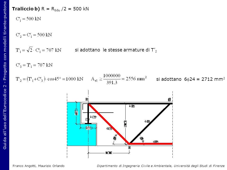 Traliccio b) R = R Sdu /2 = 500 kN Guida all'uso dell'Eurocodice 2 - Progetto con modelli tirante-puntone si adottano 624 = 2712 mm 2 si adottano le