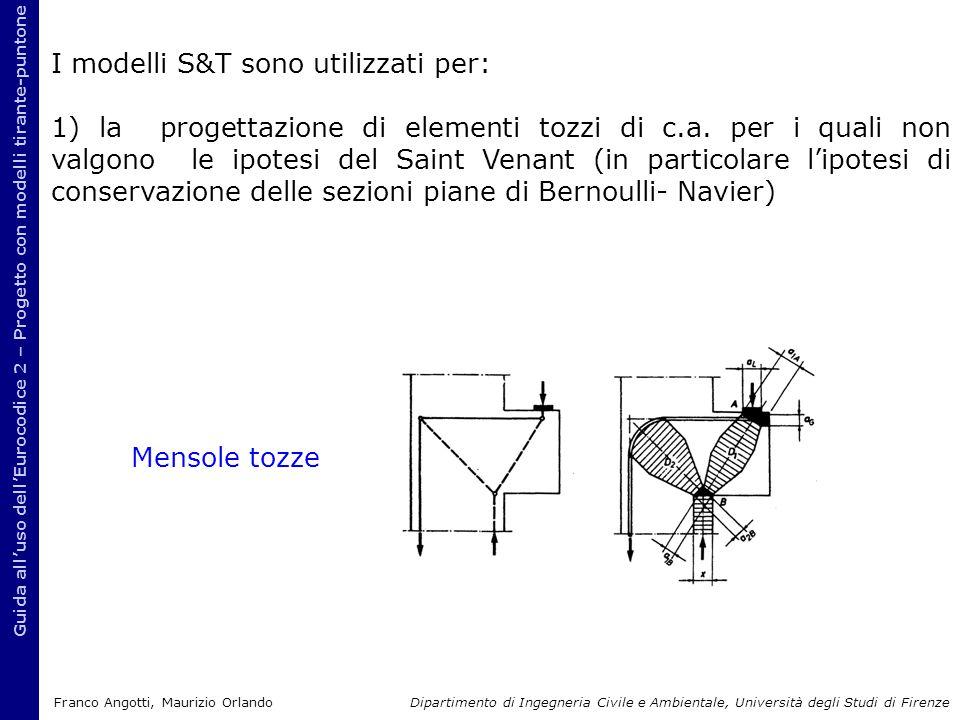 Guida all'uso dell'Eurocodice 2 – Progetto con modelli tirante-puntone I modelli S&T sono utilizzati per: 1) la progettazione di elementi tozzi di c.a.