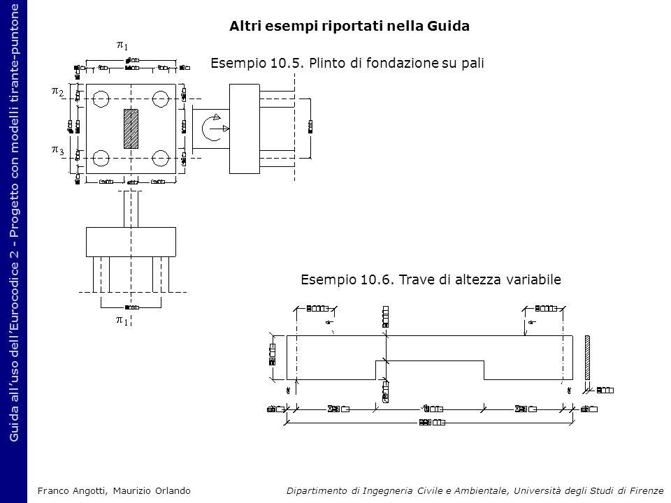 Altri esempi riportati nella Guida Guida all'uso dell'Eurocodice 2 - Progetto con modelli tirante-puntone Esempio 10.5. Plinto di fondazione su pali E