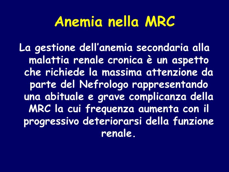 Anemia nella MRC La gestione dell'anemia secondaria alla malattia renale cronica è un aspetto che richiede la massima attenzione da parte del Nefrolog