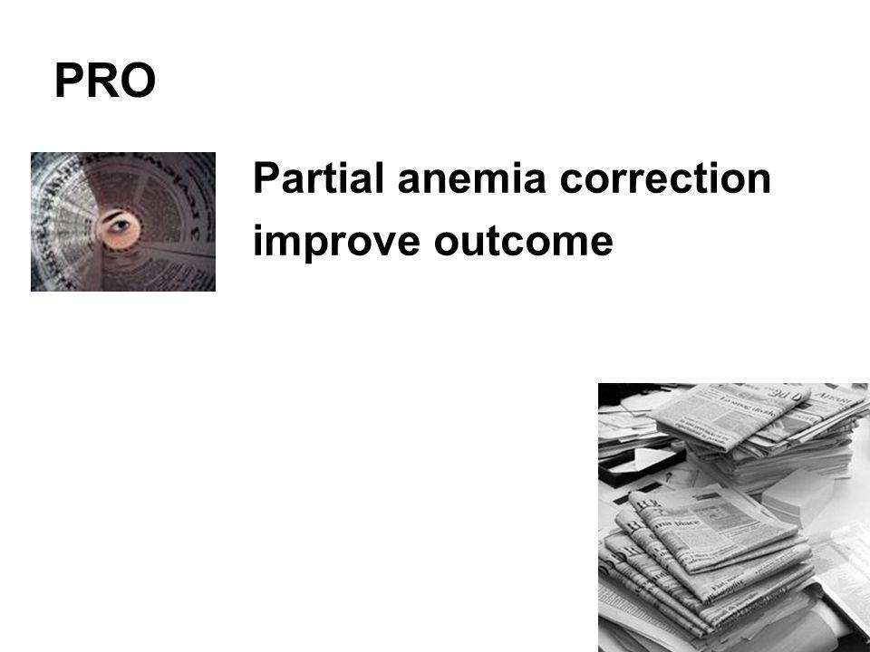 Partial anemia correction improve outcome PRO