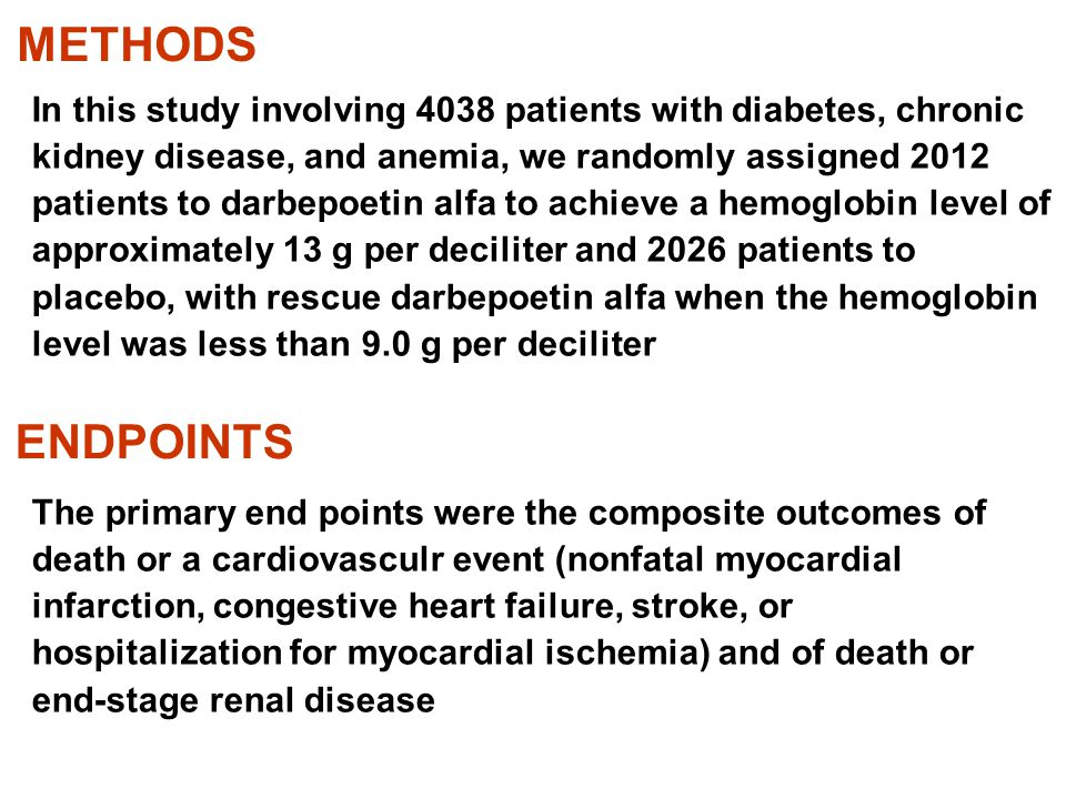 METHODS ENDPOINTS In this study involving 4038 patients with diabetes, chronic kidney disease, and anemia, we randomly assigned 2012 patients to darbe