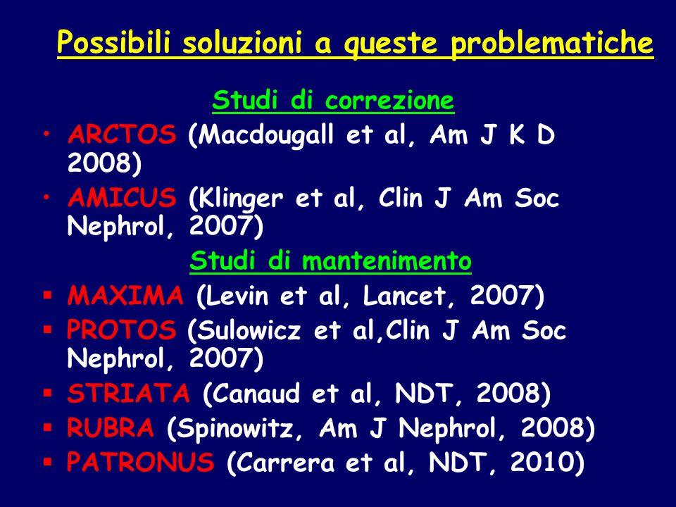 Possibili soluzioni a queste problematiche Studi di correzione ARCTOS (Macdougall et al, Am J K D 2008) AMICUS (Klinger et al, Clin J Am Soc Nephrol,