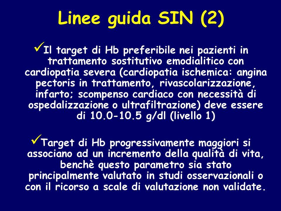 Linee guida SIN (2) Il target di Hb preferibile nei pazienti in trattamento sostitutivo emodialitico con cardiopatia severa (cardiopatia ischemica: an