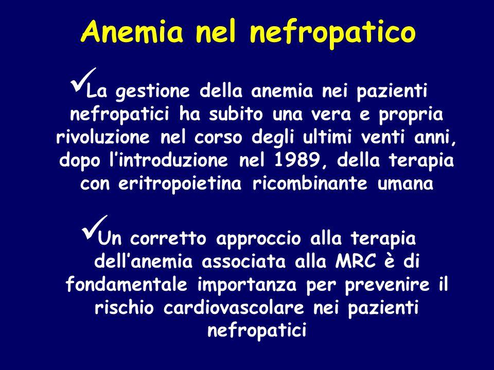 Anemia nel nefropatico La gestione della anemia nei pazienti nefropatici ha subito una vera e propria rivoluzione nel corso degli ultimi venti anni, d