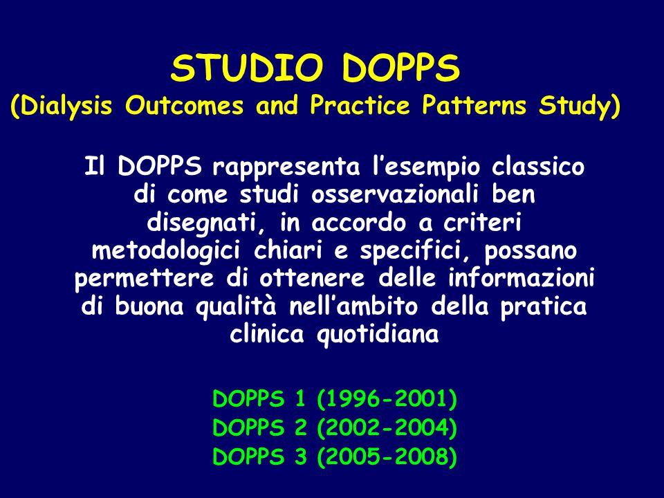 STUDIO DOPPS (Dialysis Outcomes and Practice Patterns Study) Il DOPPS rappresenta l'esempio classico di come studi osservazionali ben disegnati, in ac