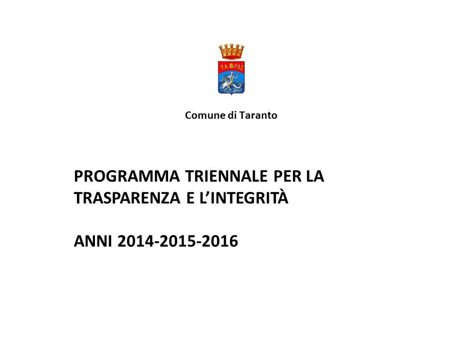 Comune di Taranto PROGRAMMA TRIENNALE PER LA TRASPARENZA E L'INTEGRITÀ ANNI 2014-2015-2016