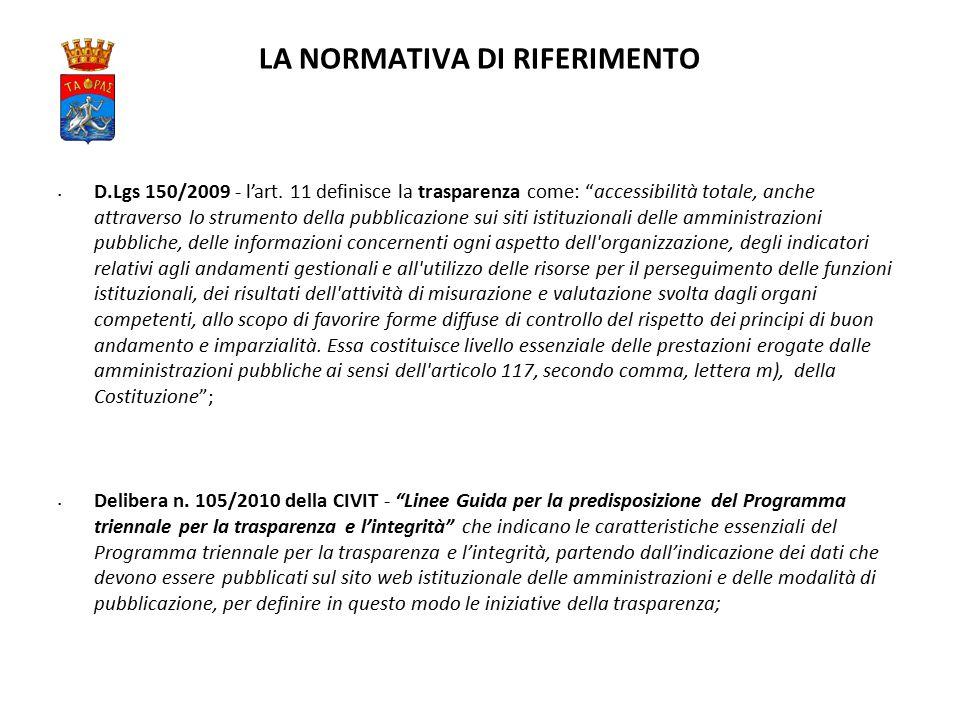 LA NORMATIVA DI RIFERIMENTO D.Lgs 150/2009 - l'art.
