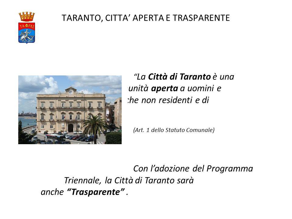 TARANTO, CITTA' APERTA E TRASPARENTE La Città di Taranto è una comunità aperta a uomini e donne anche non residenti e di diversa cittadinanza (Art.