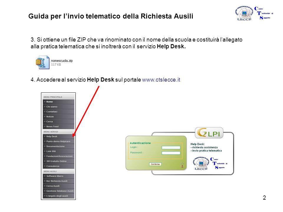 2 Guida per l'invio telematico della Richiesta Ausili 3.