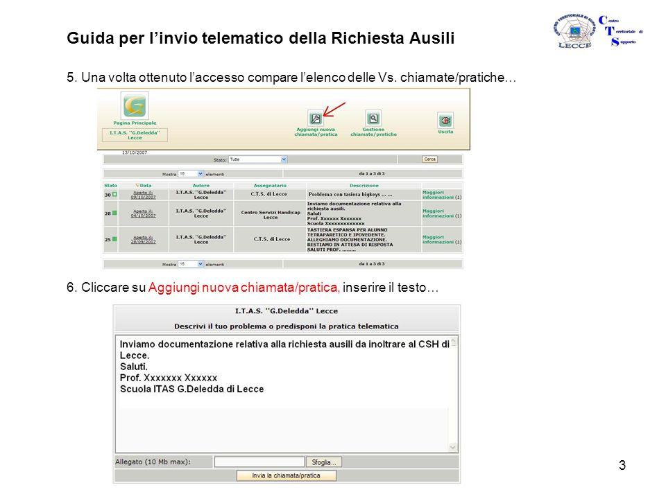 3 Guida per l'invio telematico della Richiesta Ausili 5.