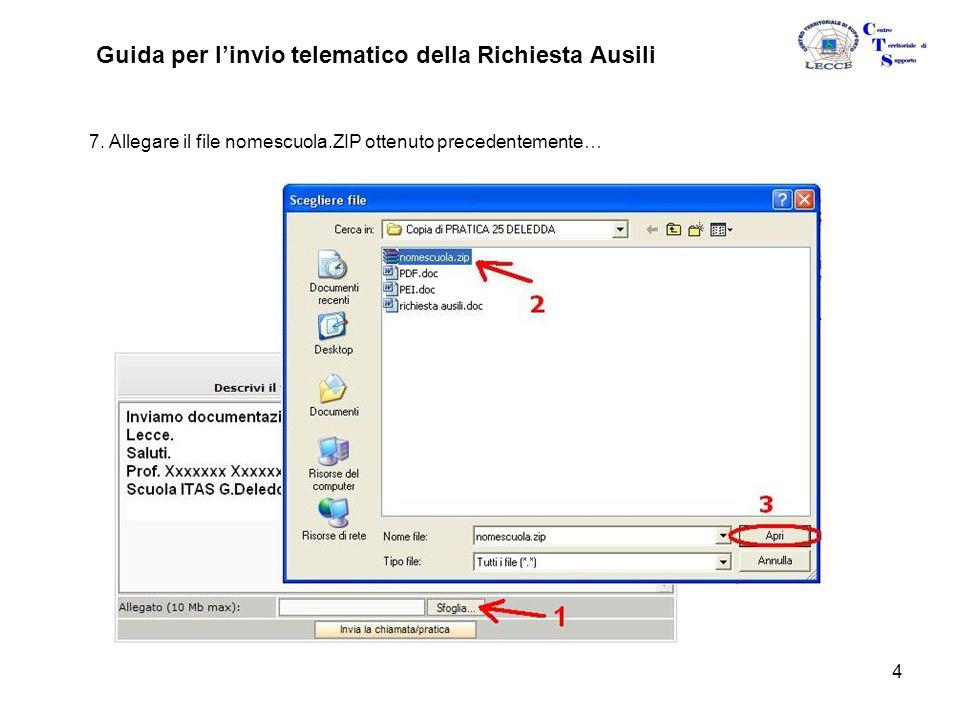 4 Guida per l'invio telematico della Richiesta Ausili 7.