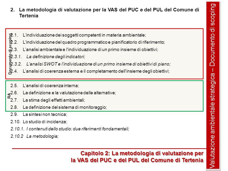 Valutazione ambientale strategica – Documento di scoping 2.La metodologia di valutazione per la VAS del PUC e del PUL del Comune di Tertenia 2.1.