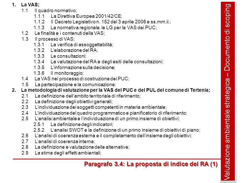 Valutazione ambientale strategica – Documento di scoping 1.La VAS; 1.1 Il quadro normativo; 1.1.1 La Direttiva Europea 2001/42/CE; 1.1.2 Il Decreto Legislativo n.