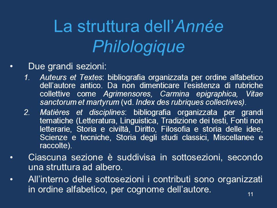 La struttura dell'Année Philologique Due grandi sezioni: 1.Auteurs et Textes: bibliografia organizzata per ordine alfabetico dell'autore antico. Da no