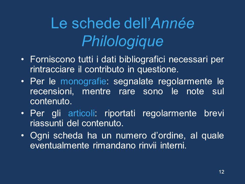 Le schede dell'Année Philologique Forniscono tutti i dati bibliografici necessari per rintracciare il contributo in questione. Per le monografie: segn