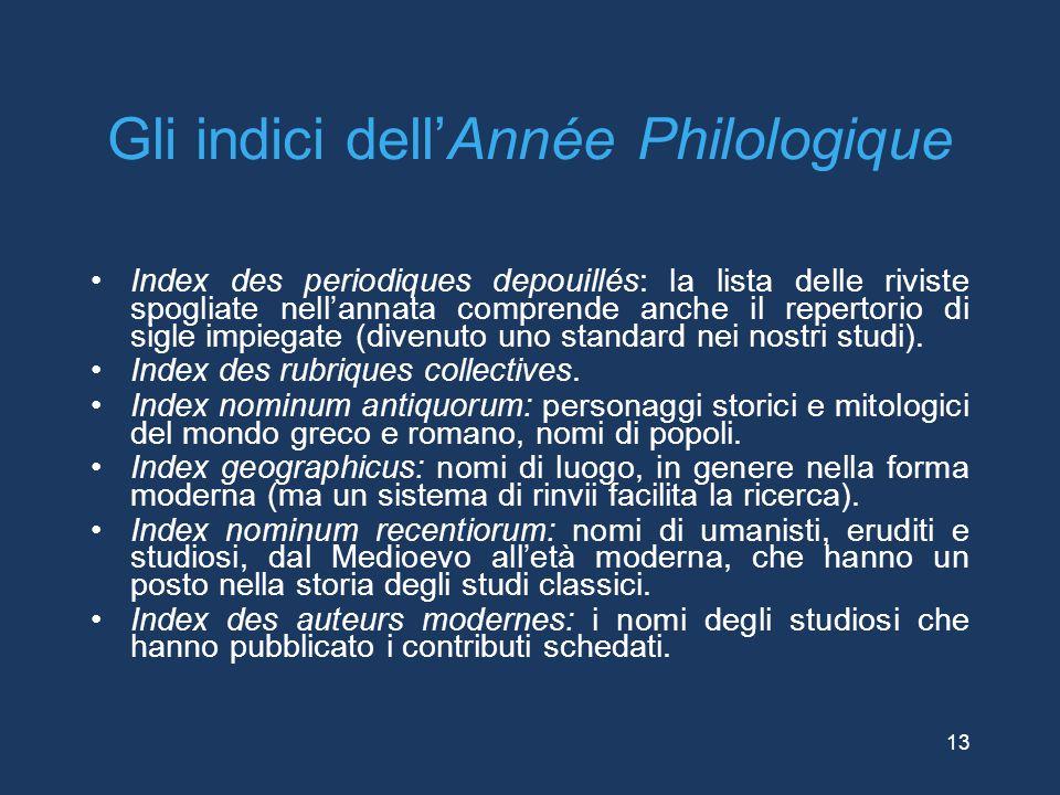 Gli indici dell'Année Philologique Index des periodiques depouillés: la lista delle riviste spogliate nell'annata comprende anche il repertorio di sig