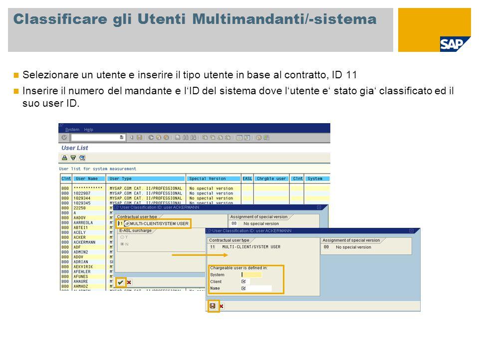 Classificare gli Utenti Multimandanti/-sistema Selezionare un utente e inserire il tipo utente in base al contratto, ID 11 Inserire il numero del mand