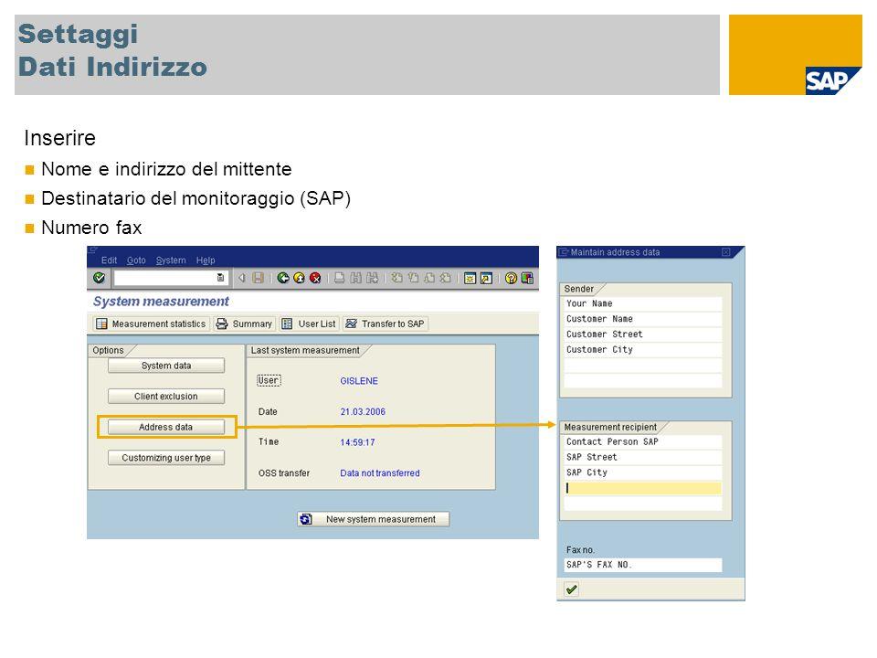 Settaggi Dati Indirizzo Inserire Nome e indirizzo del mittente Destinatario del monitoraggio (SAP) Numero fax