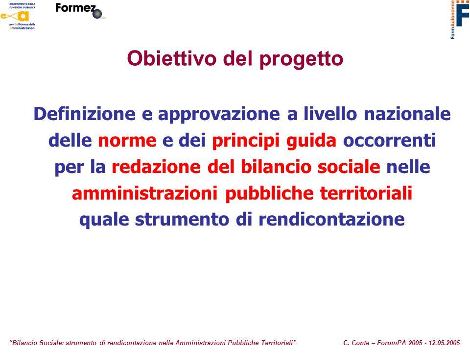 """Obiettivo del progetto """"Bilancio Sociale: strumento di rendicontazione nelle Amministrazioni Pubbliche Territoriali""""C. Conte – ForumPA 2005 - 12.05.20"""