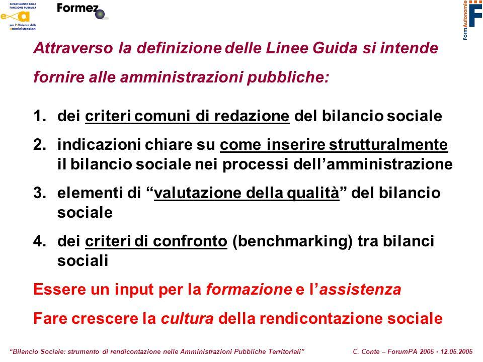 Attraverso la definizione delle Linee Guida si intende fornire alle amministrazioni pubbliche: 1.dei criteri comuni di redazione del bilancio sociale