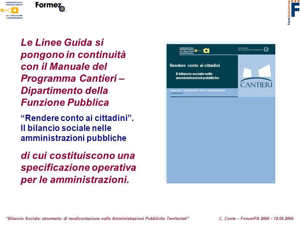"""Le Linee Guida si pongono in continuità con il Manuale del Programma Cantieri – Dipartimento della Funzione Pubblica """"Rendere conto ai cittadini"""". Il"""