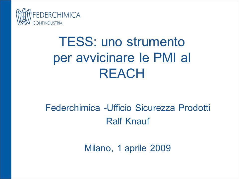 TESS: uno strumento per avvicinare le PMI al REACH Federchimica -Ufficio Sicurezza Prodotti Ralf Knauf Milano, 1 aprile 2009