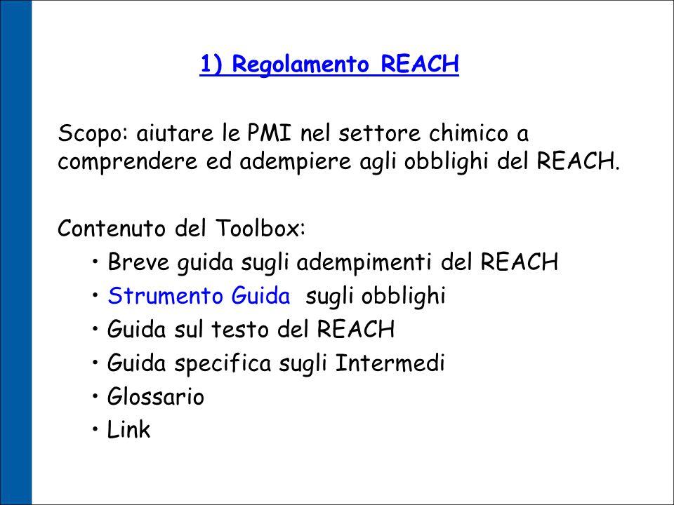 1) Regolamento REACH Scopo: aiutare le PMI nel settore chimico a comprendere ed adempiere agli obblighi del REACH.