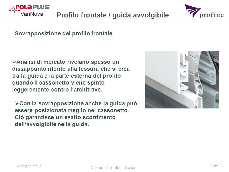© profine group Vertrauliche Informationen Seite 18 Profilo frontale / guida avvolgibile Sovrapposizione del profilo frontale  Analisi di mercato riv