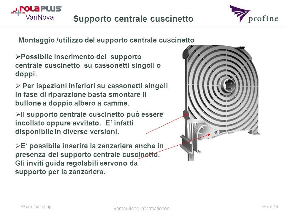 © profine group Vertrauliche Informationen Seite 19 Supporto centrale cuscinetto Montaggio /utilizzo del supporto centrale cuscinetto  Possibile inse