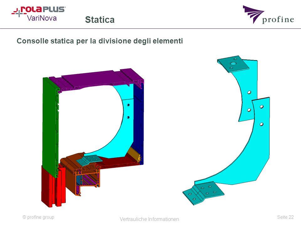 © profine group Vertrauliche Informationen Seite 22 Statica VariNova Consolle statica per la divisione degli elementi